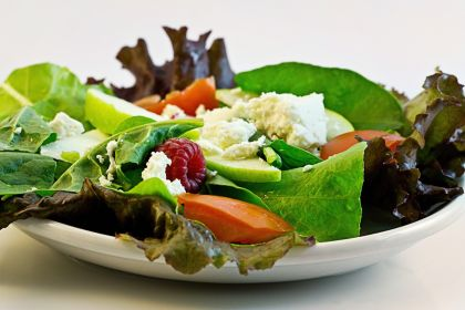 Fresh green spinach salad with cheese