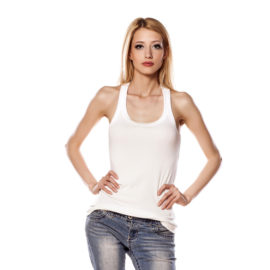 Butterfly white cotton tank top